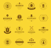 Set Beer Logos, Badges and Labels Vintage Style Royalty Free Stock Photos