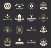 Set Beer Logos, Badges and Labels Vintage Style Stock Image