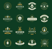 Set Beer Logos, Badges and Labels Vintage Style Royalty Free Stock Image