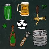 Set of Beer Objects: Can and Key, Mug, Tap, Bottle, Football Ball, Opener, Keg.  on a Black Chalkboard Royalty Free Stock Photo