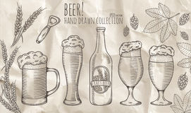Set of beer objects. stock photography