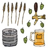 Set of Beer Objects: Hop, Malt, Mug, Tap, Keg. Isolated On a White Background. Realistic Doodle Cartoon Style Hand Drawn Sketch Ve Stock Images