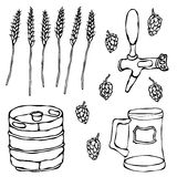 Set of Beer Objects: Hop, Malt, Mug, Tap, Keg. Isolated On a White Background. Realistic Doodle Cartoon Style Hand Drawn Sketch Ve Royalty Free Stock Images