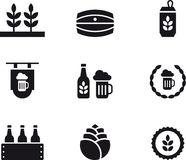 Set of beer related icons. Set of black beer related icons on a white background Stock Photography