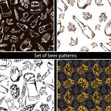 Set of beer seamless pattern on black backgroun. Vector texture in hand draw style Stock Images