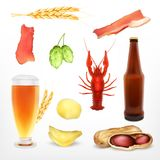 Set of beer and snack. Isolated on white. Vector icons. EPS10 Stock Image