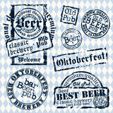 Set of beer tags. Set of beer stamps against the colors of the Bavarian flag, this illustration can be used for your design royalty free illustration