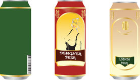 Set of beer tins. For bars, cafe, restaurants, advertising and collages Royalty Free Stock Photos