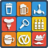 Set of 9 beer web and mobile icons. Vector. Stock Image