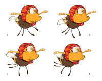 A set of bees toys cartoons for a game. Set of insects with various movements of wings Royalty Free Stock Image