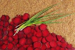 Set of beet, buckwheat and onions. Stock Image