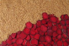 Set of beet, buckwheat and onions. Royalty Free Stock Images
