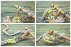 Set of the beginning of crochet chain and scarf. Crochet process Warm green winter yarn, crochet chain on the wooden table. Rustic. Background, creative craft Stock Photos