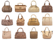 Set of beige female bags-1 Royalty Free Stock Photos