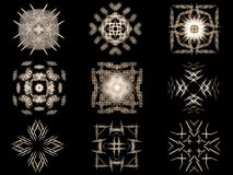 Set Beige fractal abstract patterns Royalty Free Stock Images