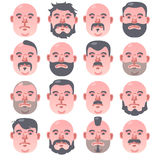 Set of 16 beige Human faces with different hairstyle and beard. Portrait of a man illustration stock illustration