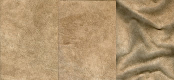 Set of beige suede leather textures Royalty Free Stock Images