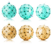 Set of beige and turquoise Christmas balls isolated on the white Royalty Free Stock Photography
