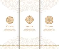 Set of beige vector emblems Ornament. Can be used for jewelry, beauty and fashion industry. Great for logo, monogram, invitation, flyer, menu, brochure, postcard Stock Images