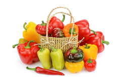 Set bell peppers in a basket Royalty Free Stock Photos