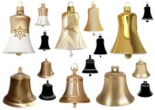 Set of Bells as Elements of Christmas Design stock illustration