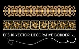 Set of belt geometric golden patterns in vintage style. Useful for frame or border decoration  Royalty Free Stock Image