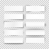 Set of 10 bended white paper banners. Set of 10 bended white paper banners on transparent background. Vector illustration Royalty Free Stock Images