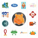Set of bengal tiger, norse, pinpoint, frog, breast cancer awareness, antelope, pisces, fire station, 40th birthday icons. Set Of 13 simple  icons such as bengal Stock Image