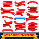 Set of bent ribbons with seam Stock Photos