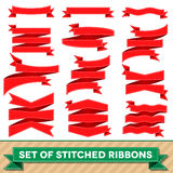 Set of bent ribbons with seam Royalty Free Stock Photo