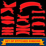 Set of bent ribbons with seam Stock Images