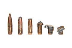 Set benutzte Gewehrkugeln Lizenzfreies Stockbild