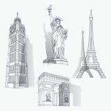 Set berühmte Grenzsteine lizenzfreie abbildung
