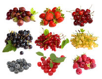 Set of berries. Isolated on white Royalty Free Stock Photo