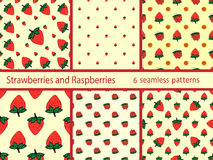 Set berries strawberries and raspberries seamless pattern Stock Photography