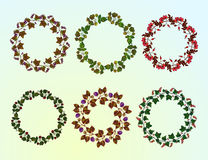 Set of berry frames - wreath. Stock Photo
