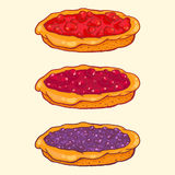 Set of berry pies - strawberry, cherry, blueberry. Vector set of berry pies - strawberry, cherry, blueberry Stock Photography