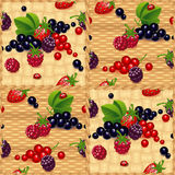 Set of berry.wood background. Stock Photos