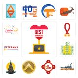 Set of best anniversary, scorpions, fire station, spartan shield, wizard hat, paddy, veterans day, breast cancer awareness, welcom. Set Of 13 simple  icons such Royalty Free Stock Photography