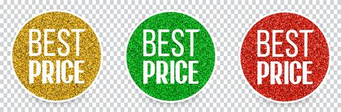 Set of best price banners or buttons. vector illustration