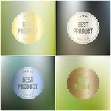 Set of best product labels isolated on blurred Royalty Free Stock Images