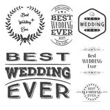 Set of best wedding ever labels Royalty Free Stock Photos