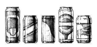 Set of beverage cans. Vector set of beverage cans in ink hand drawn style. isolated on white. Beercan Royalty Free Stock Image