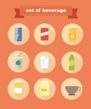 Set of beverage icons Stock Photos
