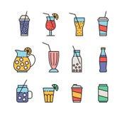 Set of beverage icons. Set of twelve colorful beverage icons. isolated on white background royalty free illustration