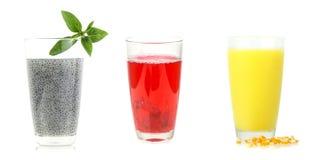 Set of beverage on white background Stock Image