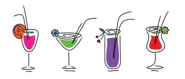 Set of beverages stock illustration