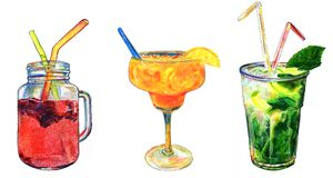 Set of beverages in watercolor: raspberry fresh juice, beach orange ice cocktail and ice mojito with mint and straw. Royalty Free Stock Images