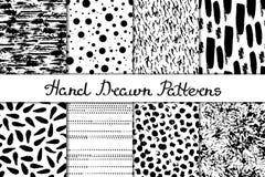 Set 8 bezszwowa tekstura Chaotyczny, druki, kropelki, paskuje, punkty, kropki Abstrakt formy rysować szeroki atrament i pióro Tła Fotografia Stock