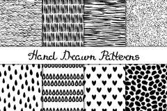 Set 8 bezszwowa tekstura Falowy pasek drukuje kropla kierowych punkty Abstrakt formy rysować szeroki atrament i pióro Tła w czern Zdjęcia Royalty Free